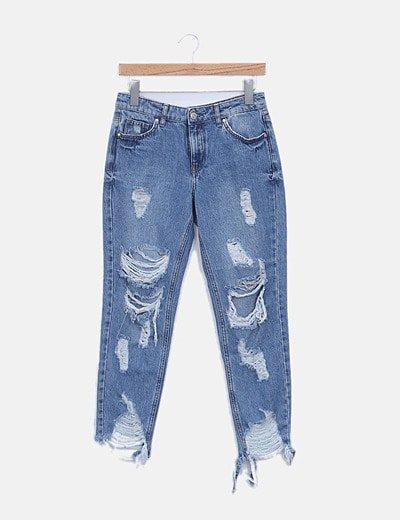 Jeans denim girlfriend con rotos