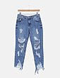 Jeans denim girlfriend con rotos Lefties