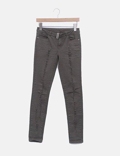 Jeans denim pitillo verde