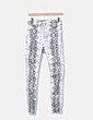 Pantalón denim pitillo blanco animal print Zara