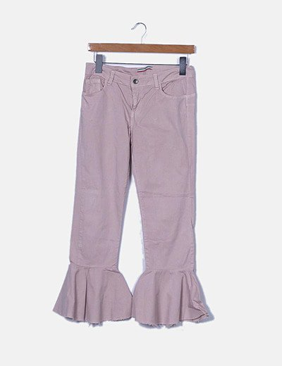 Pantalón denim rosa claro campana