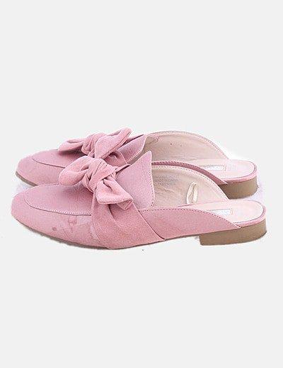Zapato destalonado rosa con lazo