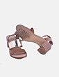 Sandalia de tacón combinado marrón y dorado Zara