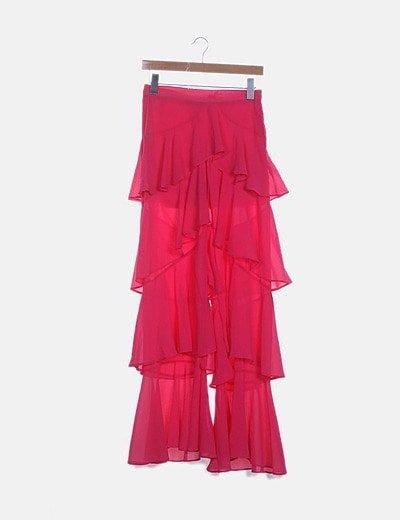 Pantalón de volantes rosa