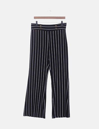 Pantalón negro de rayas con botones