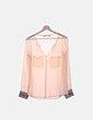 Camisa salmón semitransparente detalle puños Zara