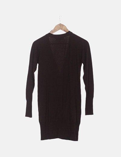 Cardigan tricot largo marrón