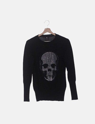 Suéter tricot negro strass calavera