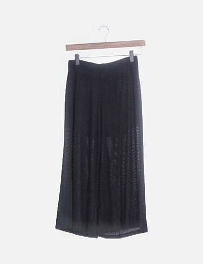 Culotte negro plisado