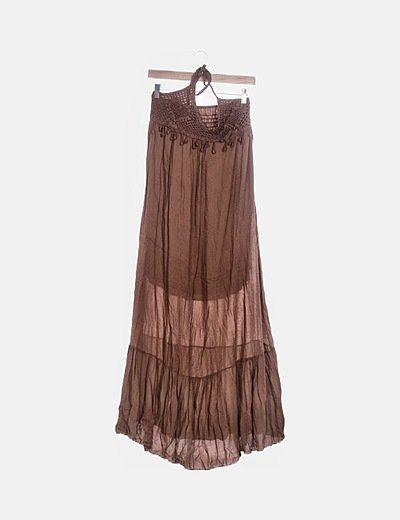 Vestido marrón midi cuello halter