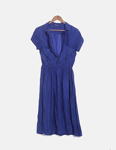 Vestido camisero fluido azul