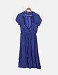 Vestido camisero fluido azul Uterqüe