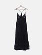 Vestido fluido negro con encaje Zara