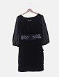 Vestido de gasa negro bordado Desigual