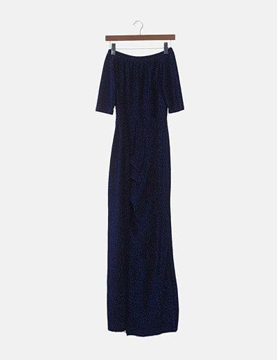 Maxi vestido glitter azul con abertura