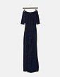 Maxi vestido glitter azul con abertura NoName