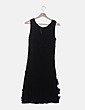 Vestido negro texturizado con flores El Corte Inglés