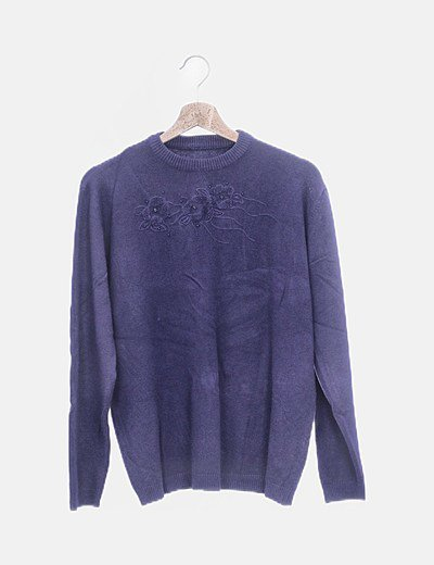 Jersey azul detalle bordado