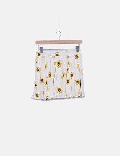 Falda mini blanca print floral