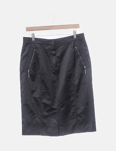 Falda midi negra con cremalleras