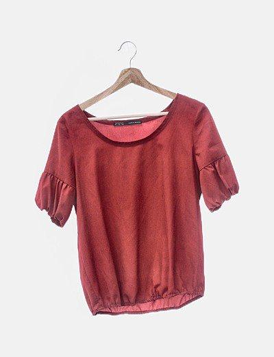 Blusa fluida roja manga corta