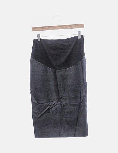 Falda midi polipiel negra