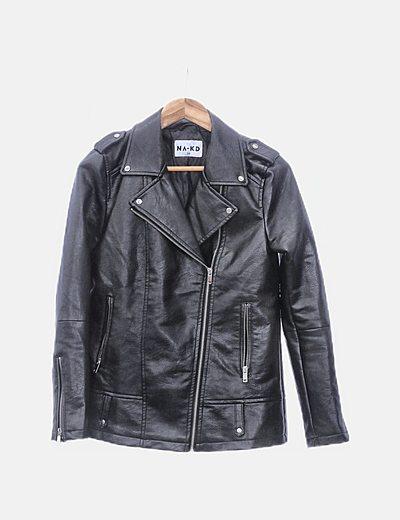 Chaqueta biker polipiel negro