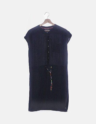 Vestido manga corta azul marino con botones