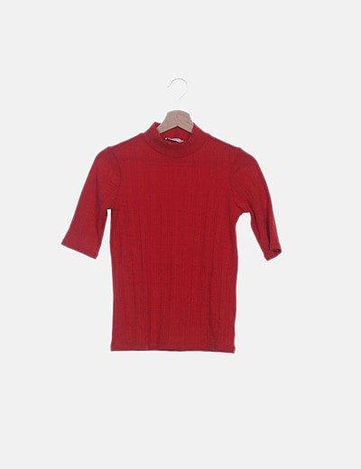 Top rojo manga corta