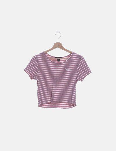 Camiseta canalé rosa con rayas