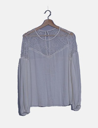Blusa blanca combinado encaje