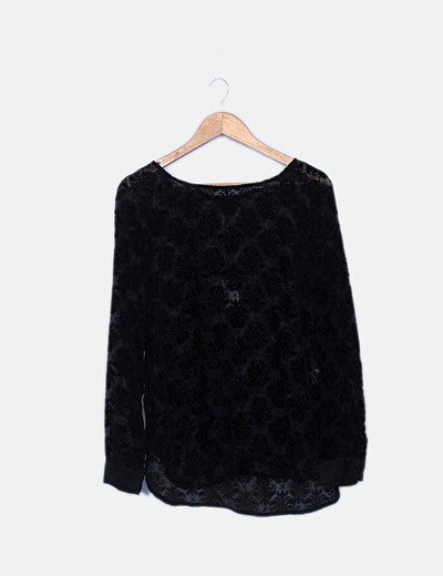 Camiseta transparente negra terciopelo