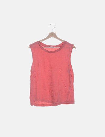 Camiseta rosa sin mangas