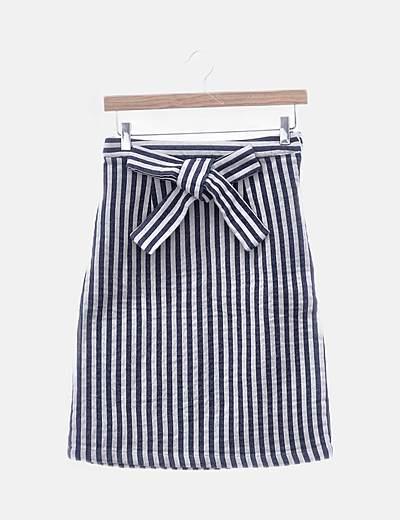 Falda midi rayas azules