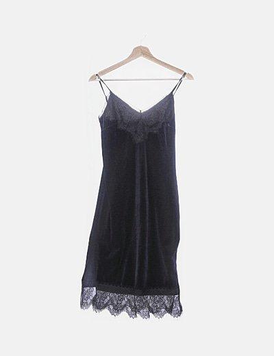 Vestido lencero terciopelo azul marino