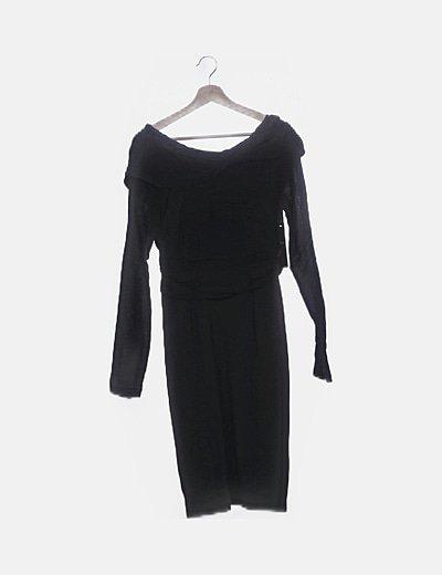 Vestido midi negro combinado