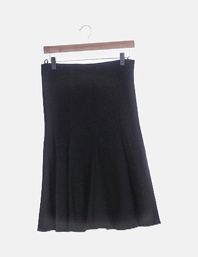 Falda midi negra evasé