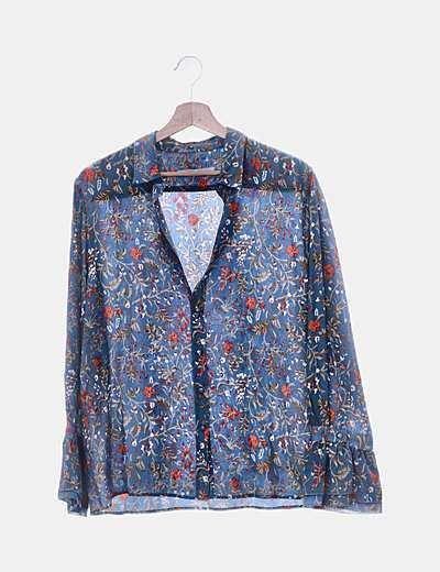Camisa fluida azul floral