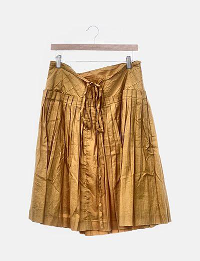 Falda midi plisada mostaza