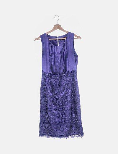 Vestido satinado azul combinado encaje