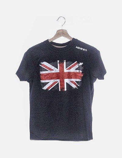 Camiseta azul marina print bandera