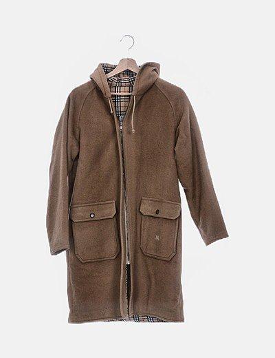Abrigo de paño recto marrón
