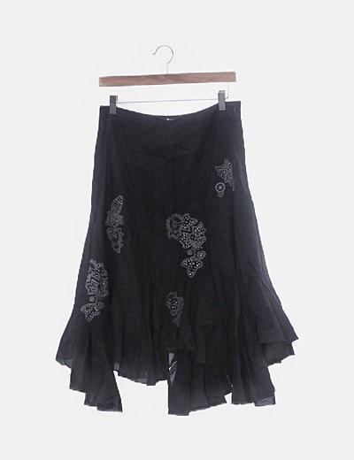 Falda negra midi floral