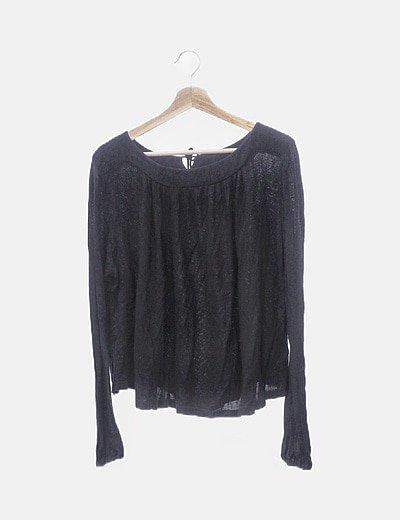 Jersey tricot negro cuello barco