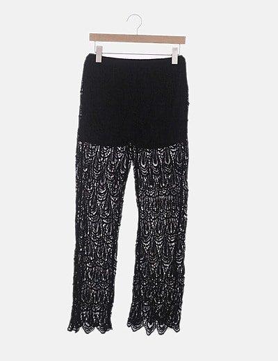 Pantalón crochet negro