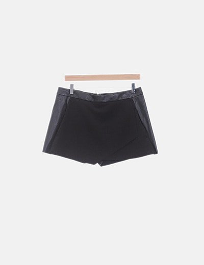 Mini falda pantalón combinada negra