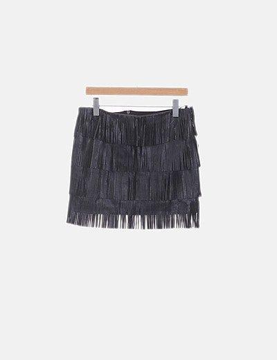 Mini falda combinada negra con flecos