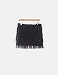 Mini falda combinada negra con flecos Rinascimento