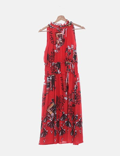 Vestido de gasa rojo estampado