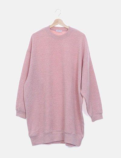 Jersey maxi canalé rosa